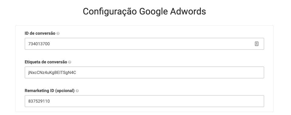 Configuração Google Adwords