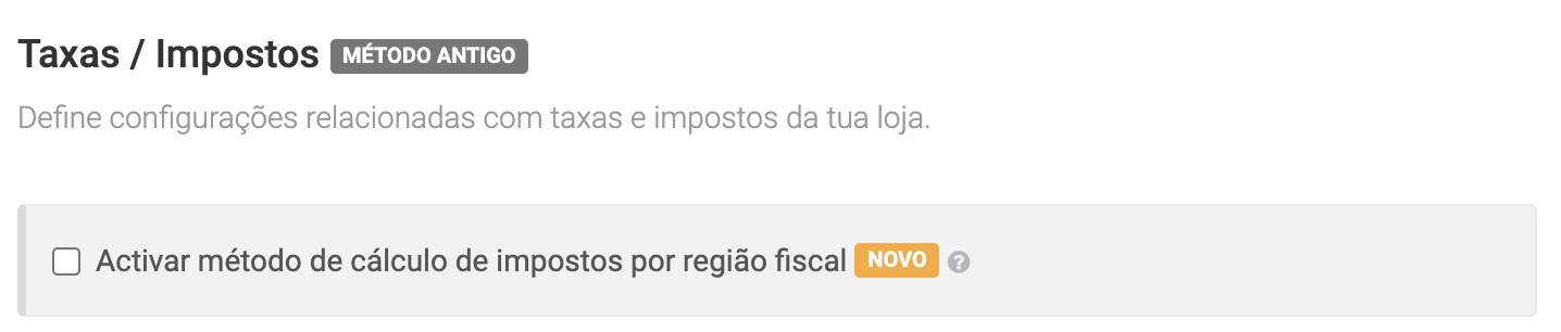 Activar método de cálculo de impostos por região fiscal