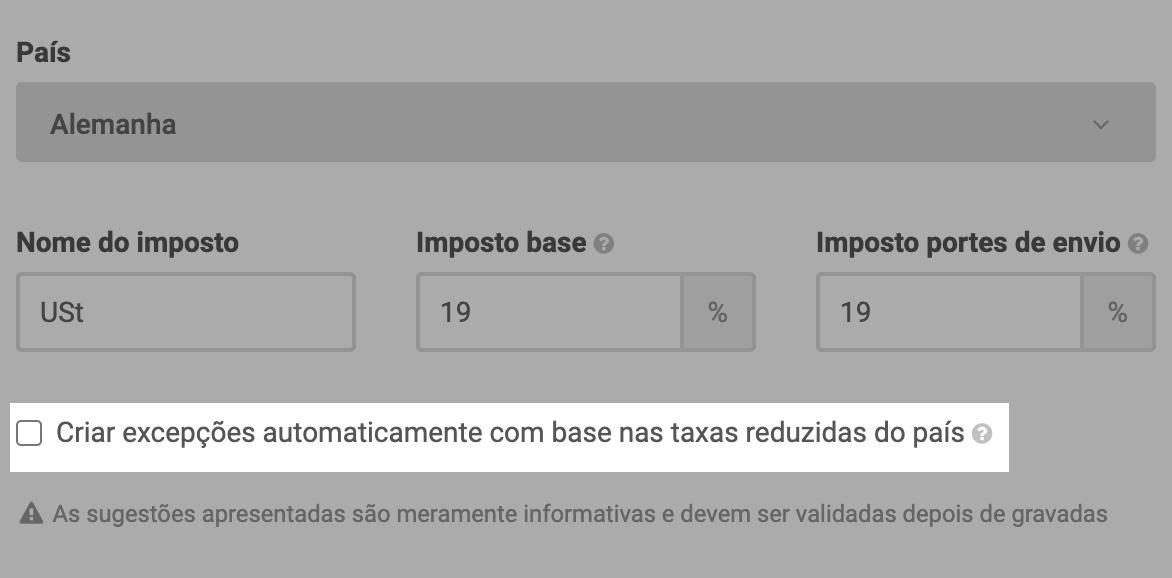 excepções de impostos