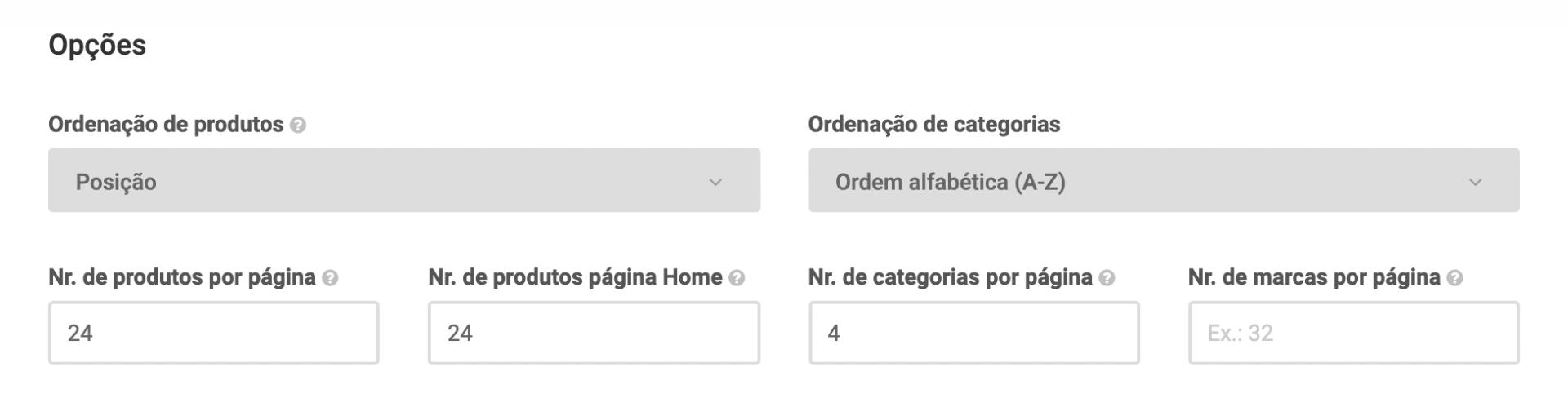 Configurações de apresentação de produtos