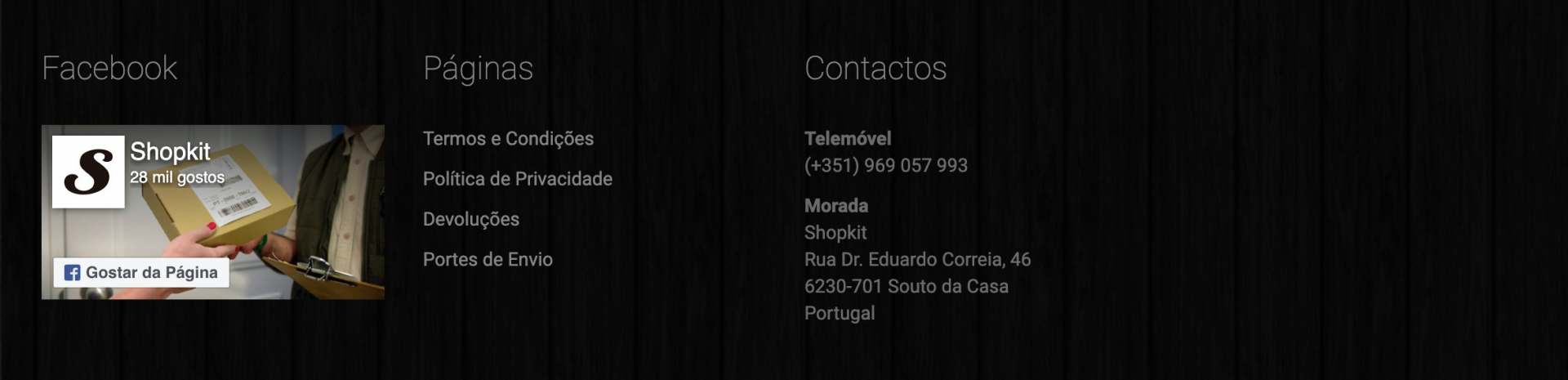 Contactos da loja online