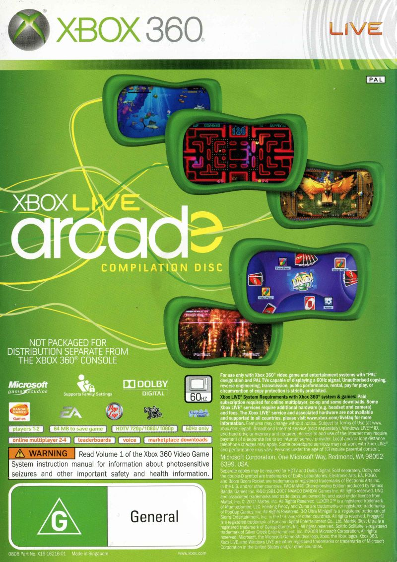 Xbox Live Arcade Game Pack [Sem Manual] - X360