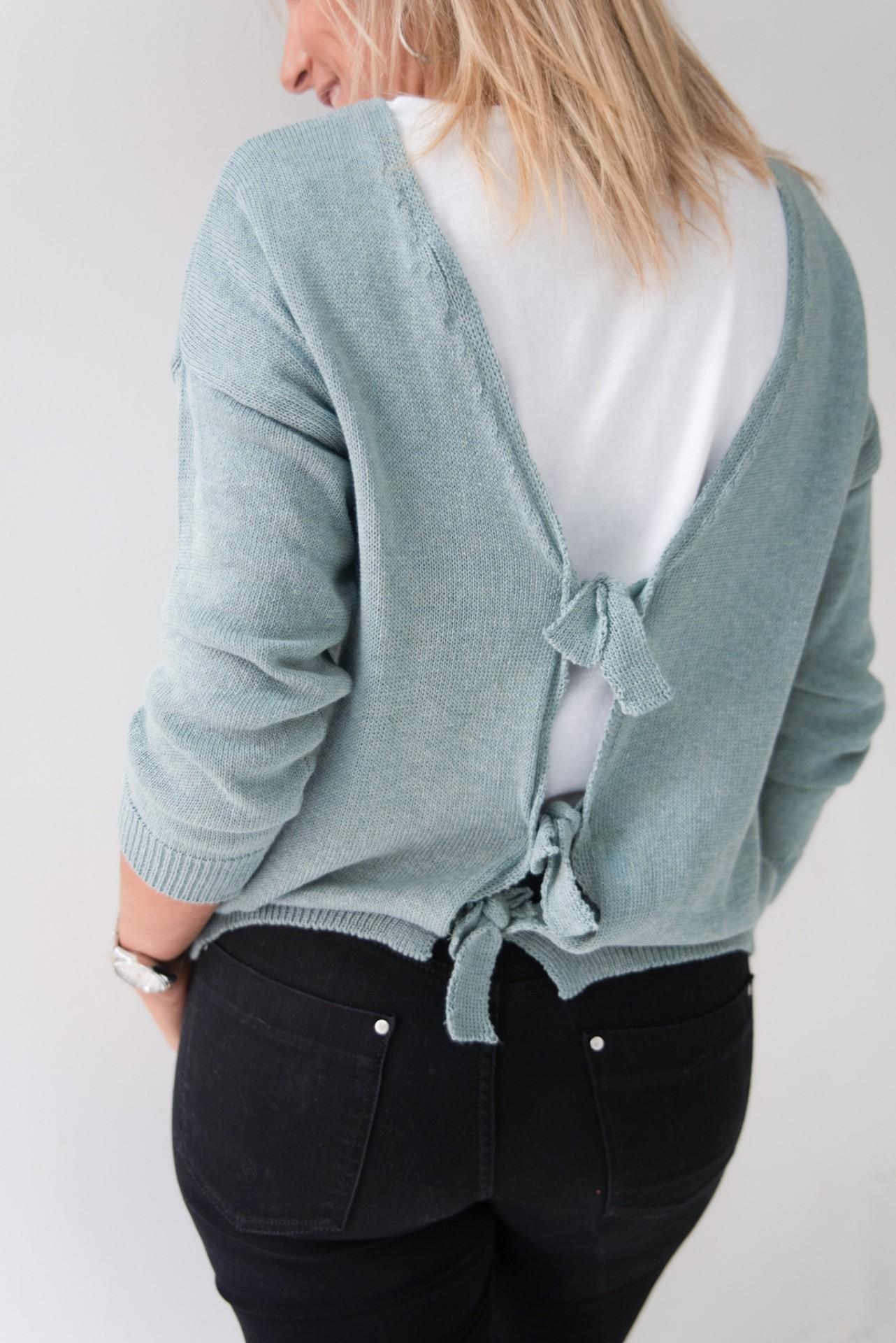 camisola laços costas verde azulado