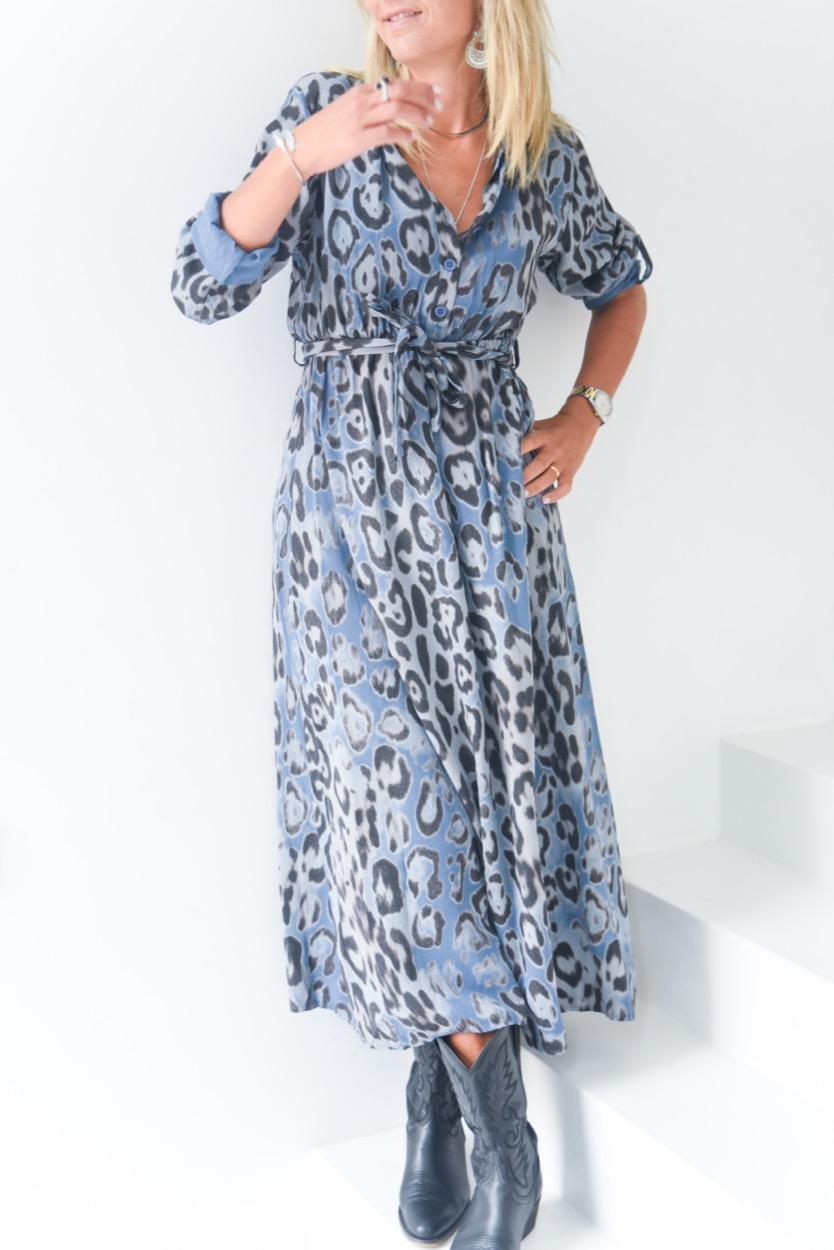 vestido print leopardo