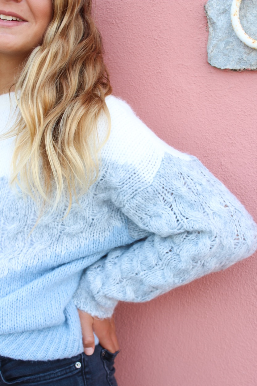 camisola 3 cores v trança branco/cinza/azul