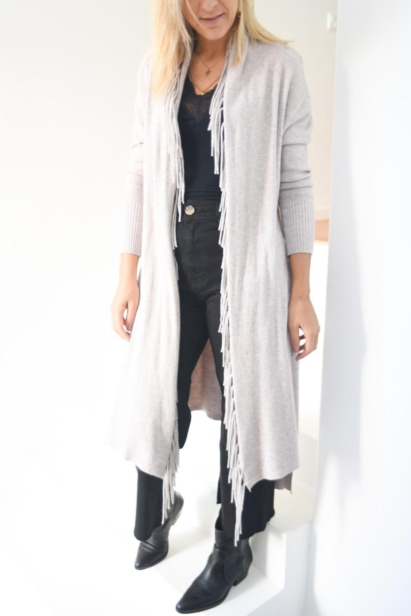 casaco franjas areia