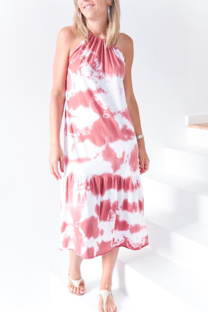 Vestido tie dye folho baixo coral