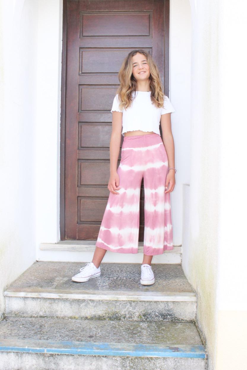 calças tie dye curtas rosa