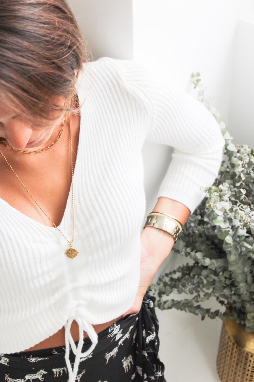 camisola canelado franzida branco