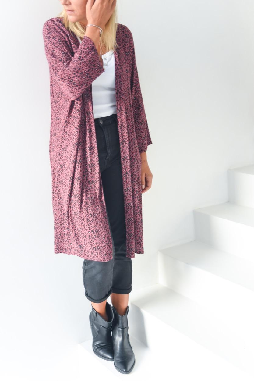 kimono animal print rosa