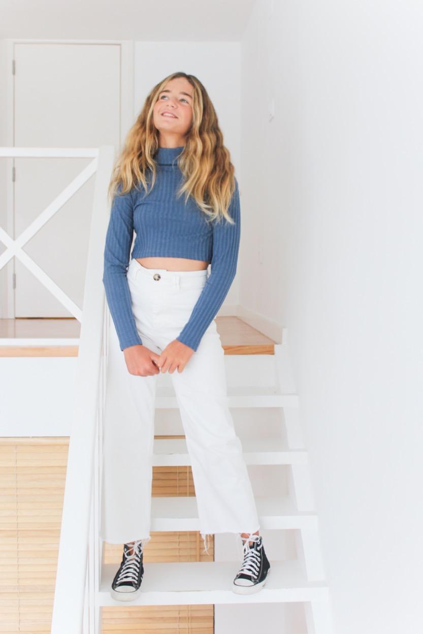 camisola canel curta GA azul