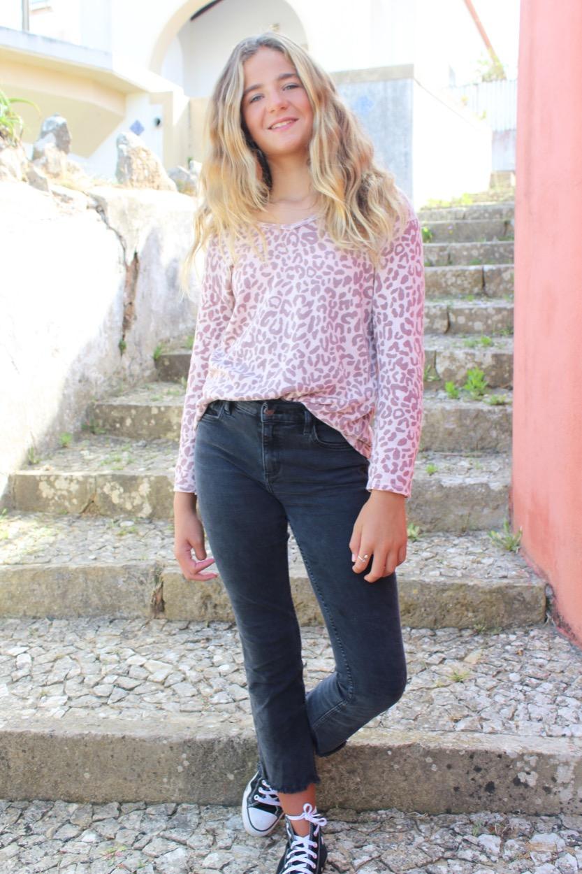 T-shirt animal print rosa