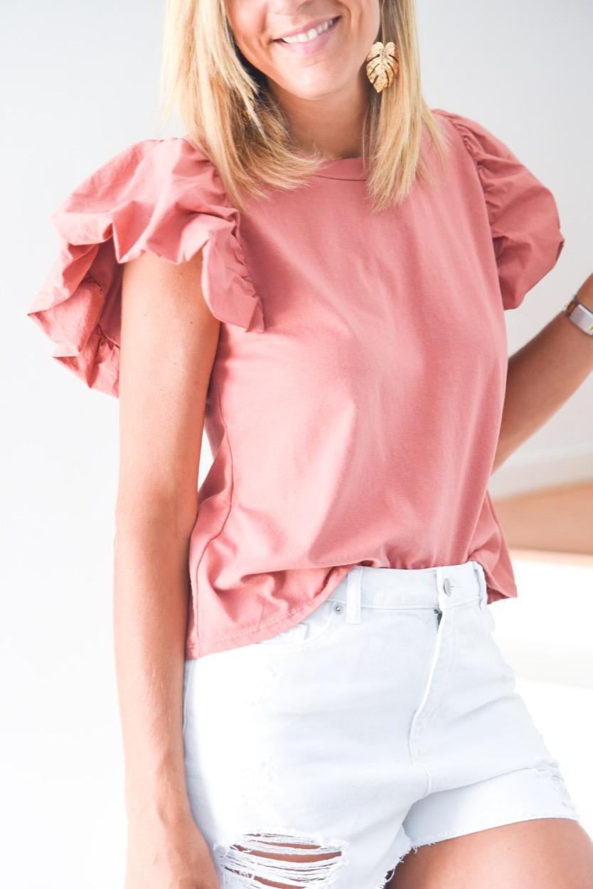 t-shirt mng balão rosa