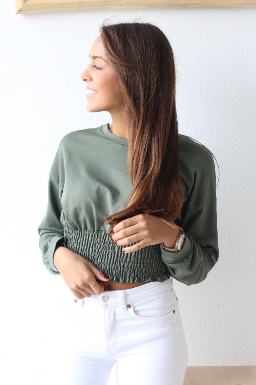 sweatshirt elast barriga verde seco