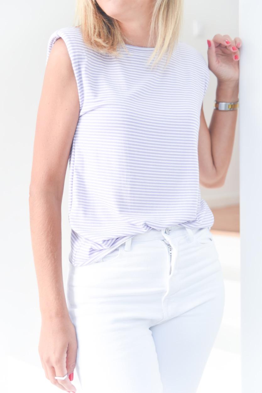 T-shirt chumaços riscas lilás