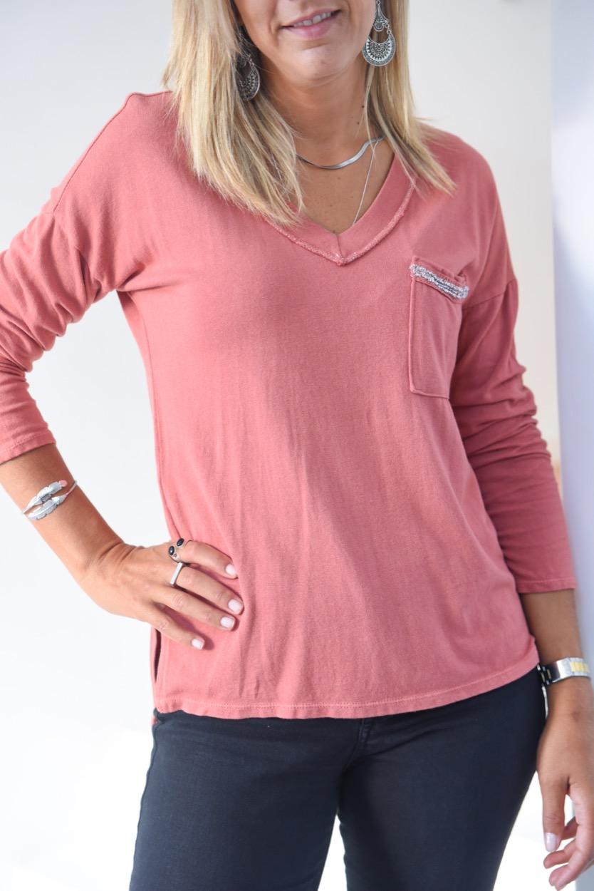 T-shirt bolso risca prata coral