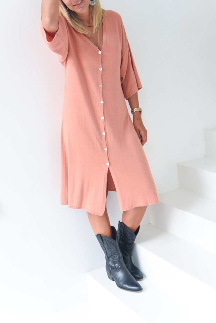 vestido malha botões salmão