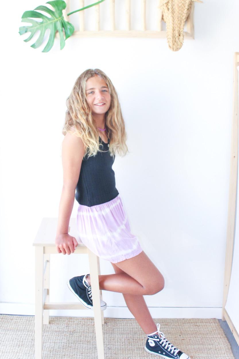 calções Tie dye s/ bolso lilás