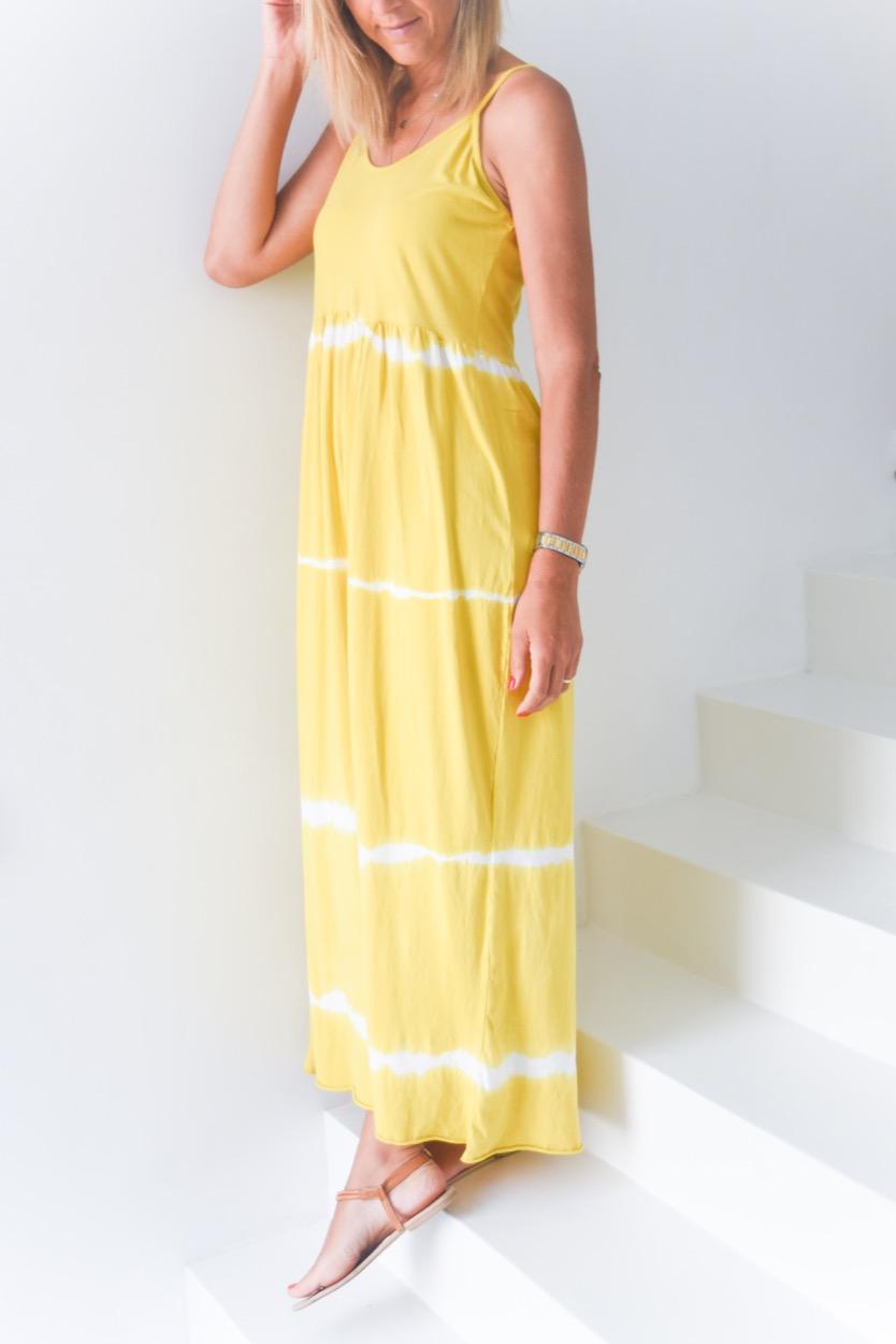 vestido tie dye alças amarelo