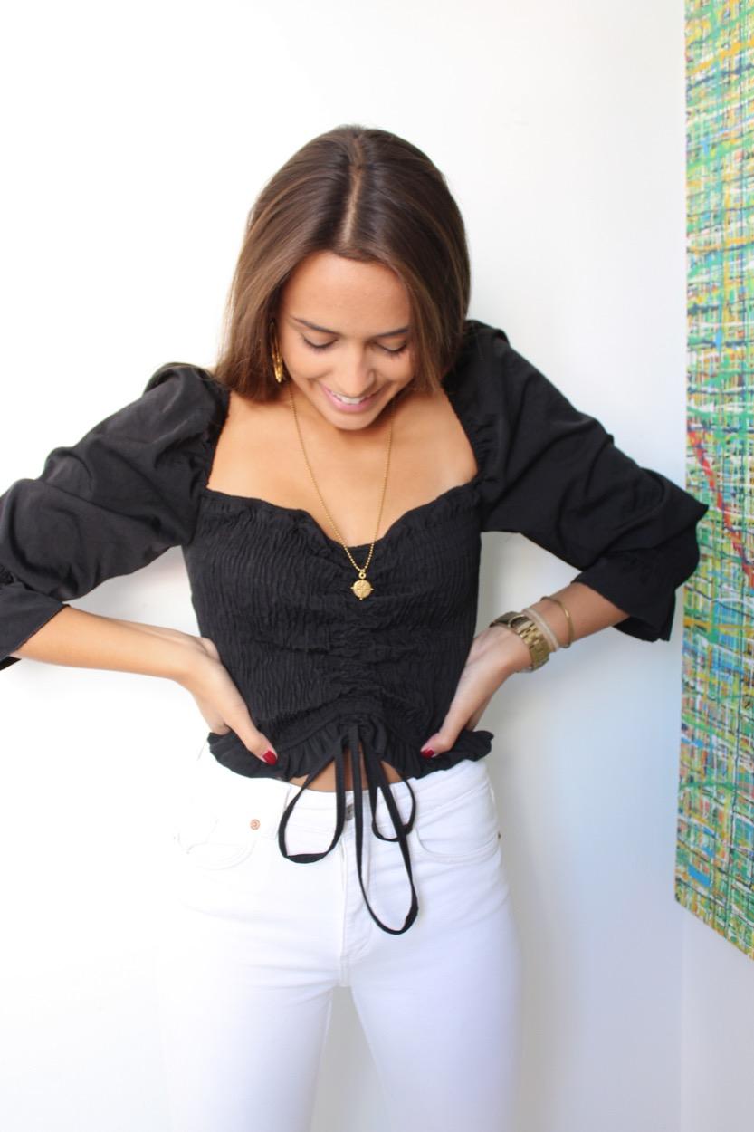 top elasticos fios franzido preto