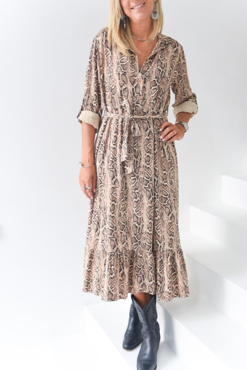 vestido cobra beje