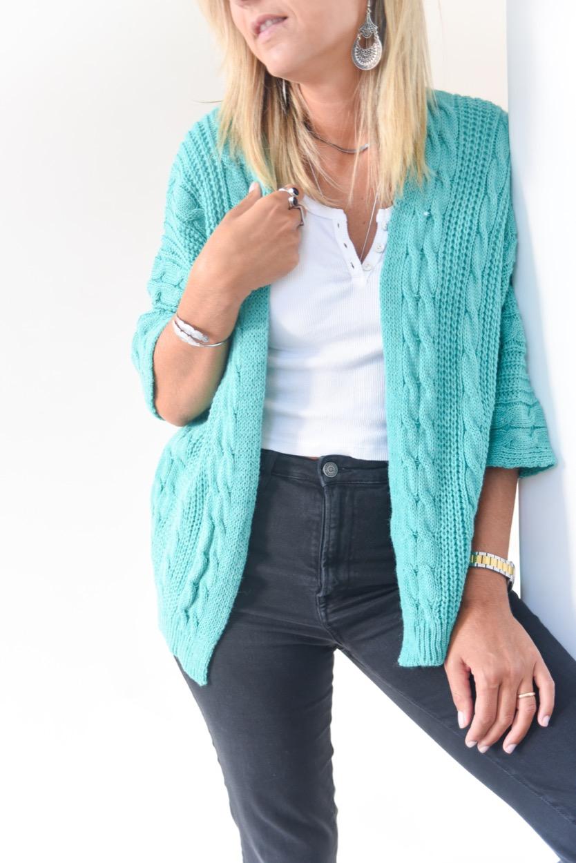 casaco verde tranças