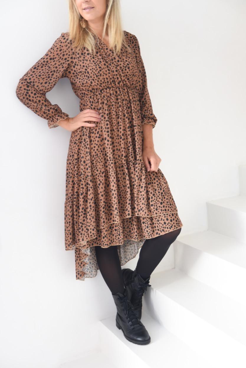 vestido animal folho camel