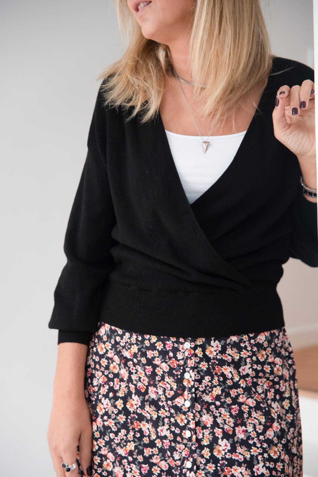 camisola decote cruzado preto
