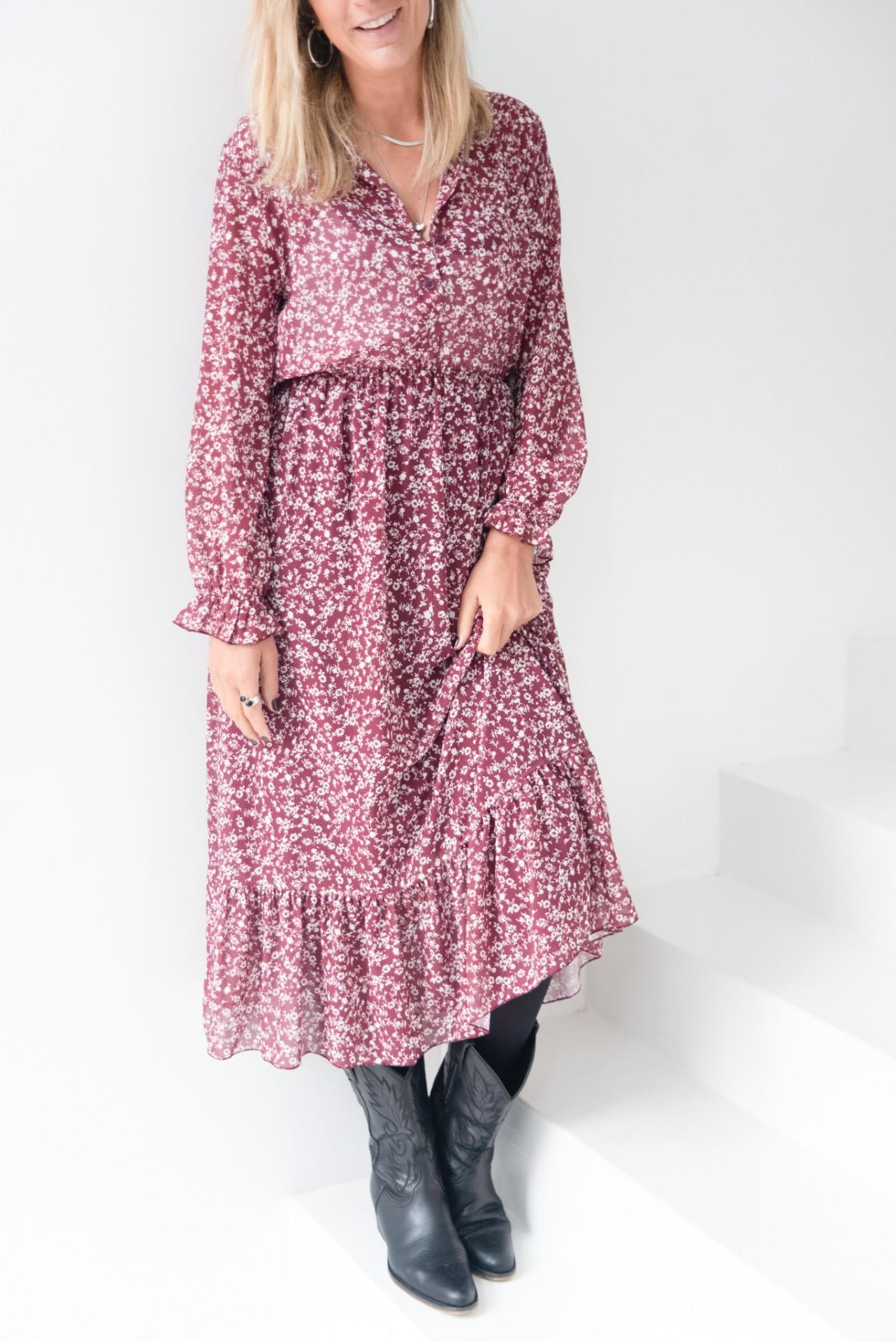 vestido comp flores bordeaux