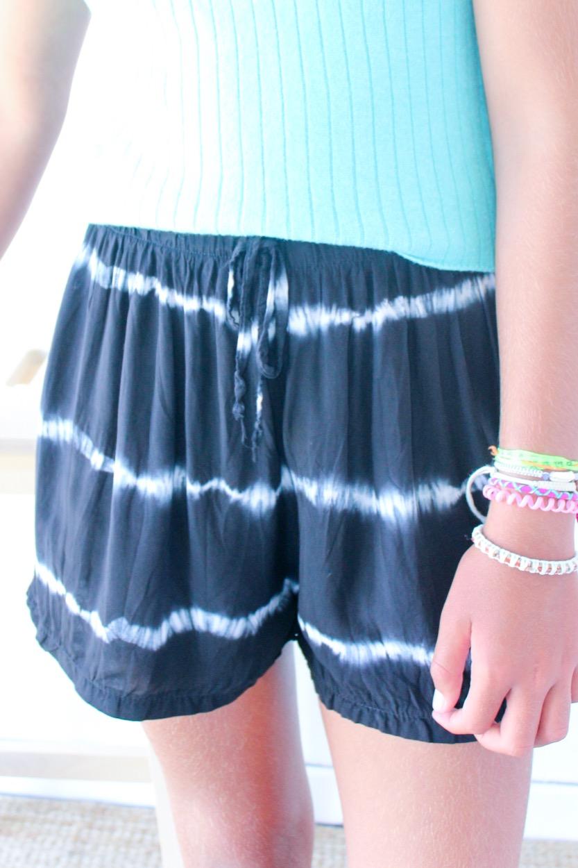 calções Tie dye s/ bolso preto