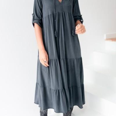 vestido comp cordão decote chumbo