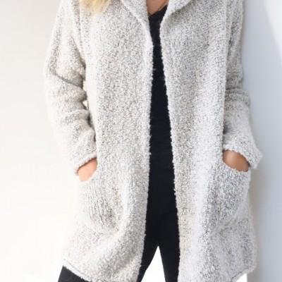 casaco capuz mesclado beje