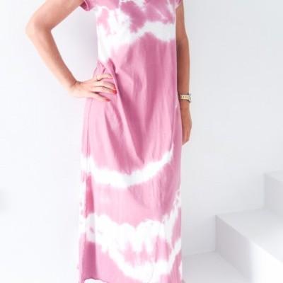 vest tiedye algodão comp rosa