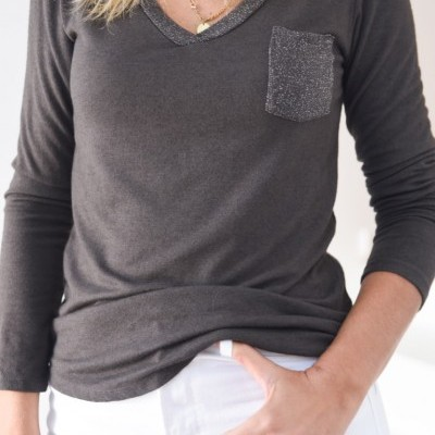 camisola bolso brilhante castanho