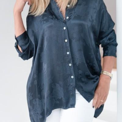 blusa adamascado azul