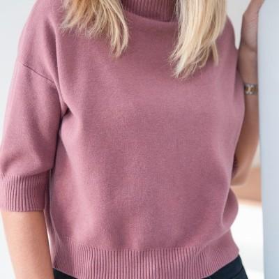 camisola meia manga rosa