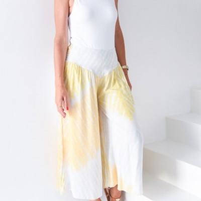 calças manch elast cint amarelo/cinza