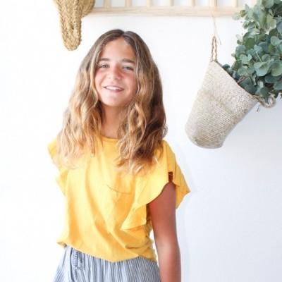 T-shirt amarela bolso