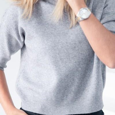 camisola meia manga cinza
