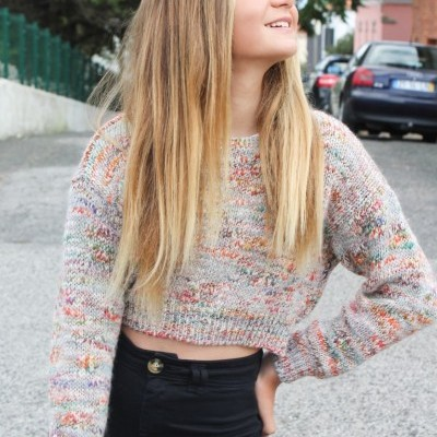 camisola curta multicolor