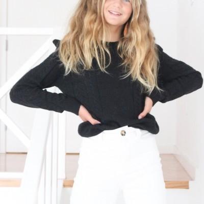 camisola folho ombros preto