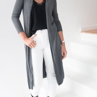 casaco canelado aberto cinza
