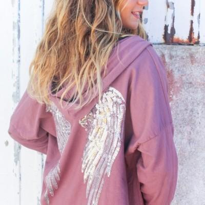 casaco asas rosa velho