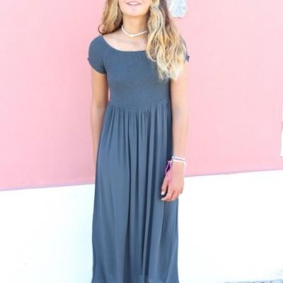 vestido elastico peito chumbo