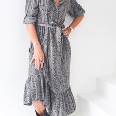 vestido cobra cinza
