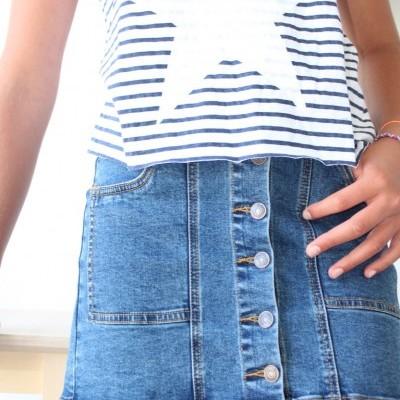 saia jeans botões frente