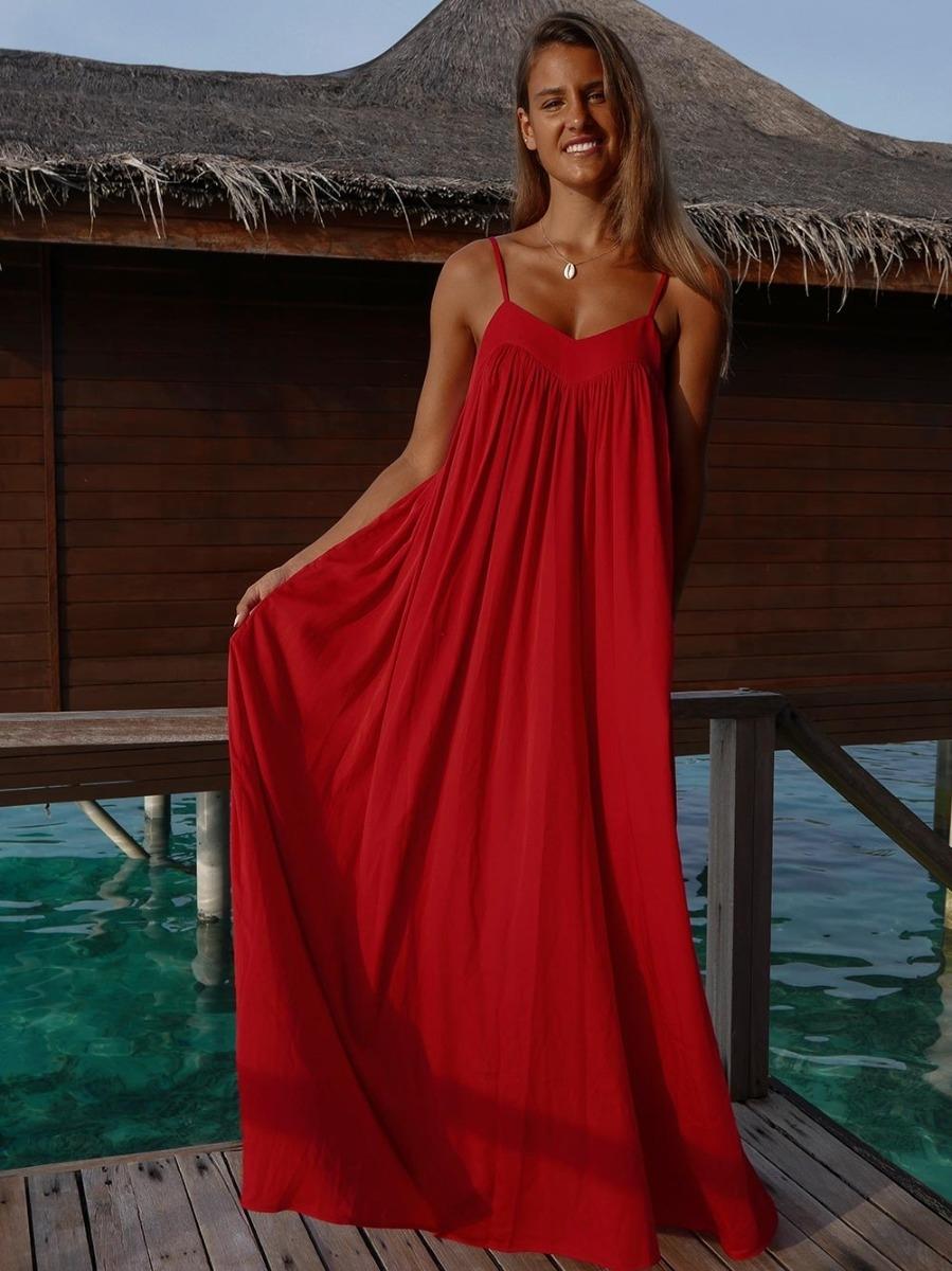 Vestido Vermelho Fluído De Alças - KAOÂ