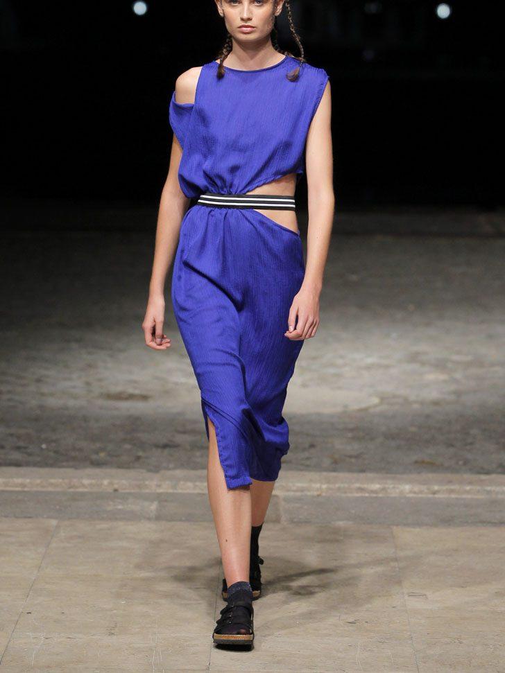 Midi wrinkled Dress with CutOut Triangle Details - SUSANA BETTENCOURT