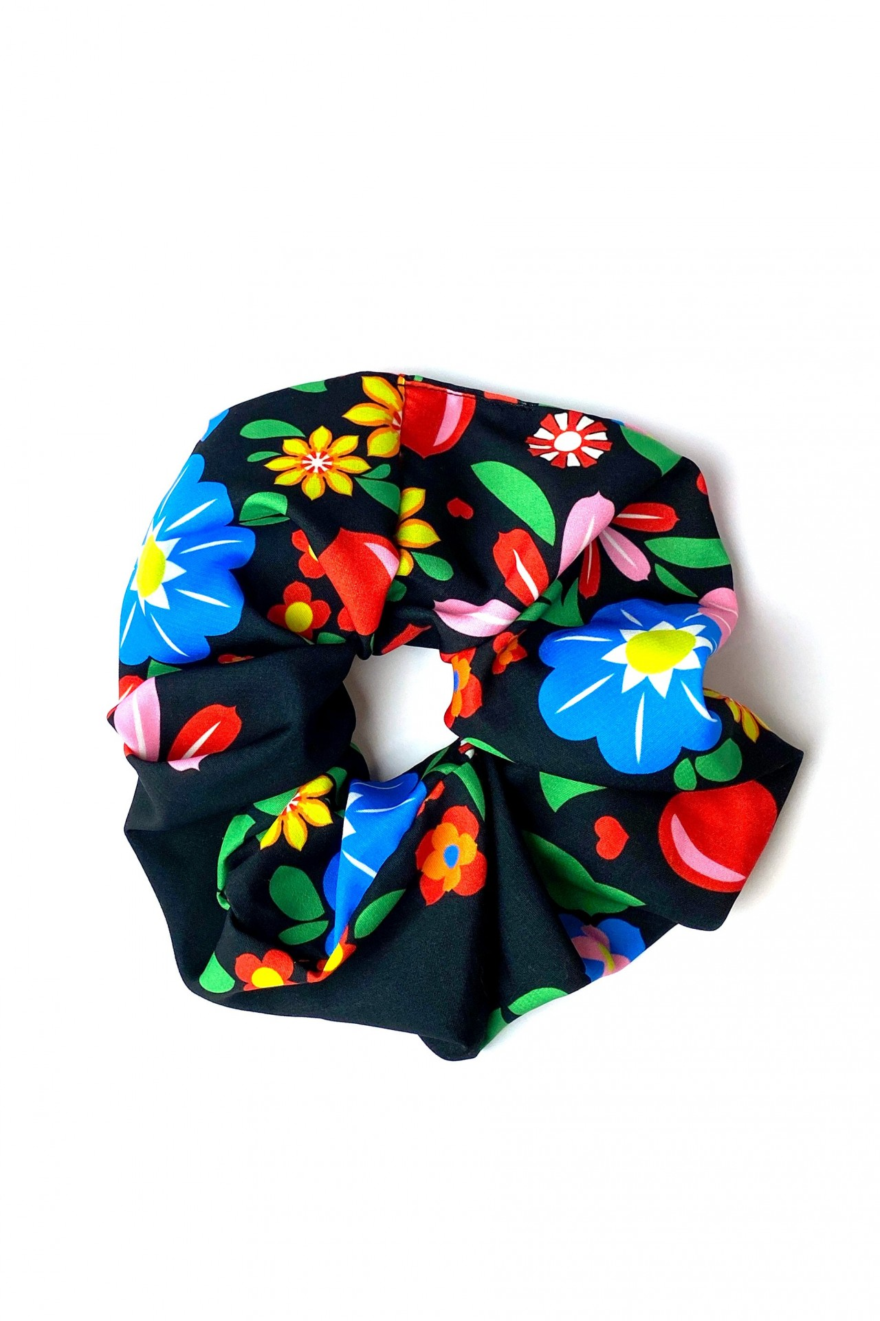 TRIBE SCRUNCHIE (RUSSIAN FLOWERS BLACK)