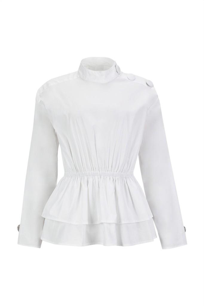 MISSES PEPLUM SHIRT - MISSES WHITE